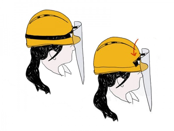 Attachment to the construction helmet